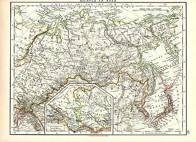 Antique MAP ~ RUSSIA IN ASIA by W. & A. K. Johnston 1915 ~ 100+ Years Old