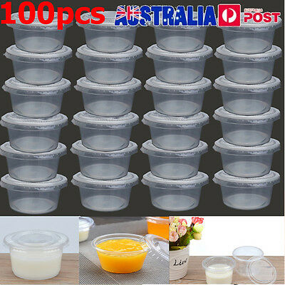 100X 150ml Take Away Containers Takeaway Food Plastic Round Sauce Bulk with Lid