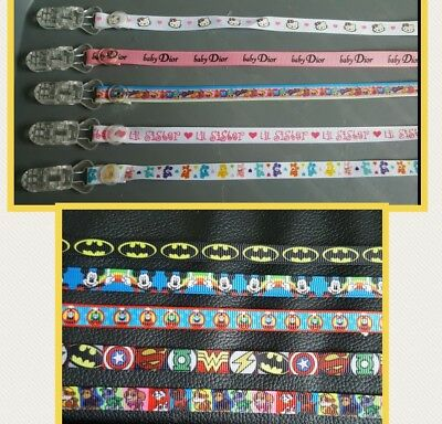 Babies Ribbon Dummy Clips, Any Character,  Plastic Clip Not Metal**see Photos**