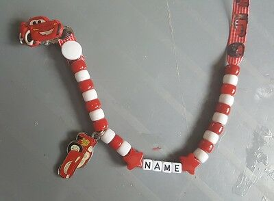 **LIGHTENING McQUEEN** PERSONALISED DUMMY CLIP,  **FREE MAM RING** READ DETAILS!