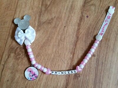 Bling Minnie Mouse Personalised Dummy Clip, Variety Of Colours, L@@k!!!!