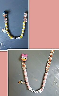 *donald/daisy Duck* Personalised Dummy Clips, *free Mam Clip* Read Description!!