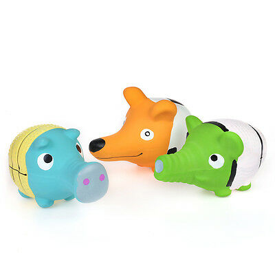 """WONPET 3.5"""" Squeaky Latex Puppy Toy Long Mouth Animal Squeaker Small Dog Play"""