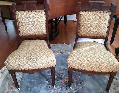 Exquisite Antique Pair Of Lovely Upholstered East Lake Chairs