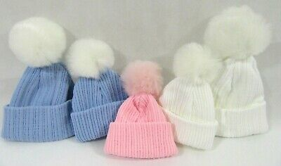 Baby Boys Girls Pink Blue White Knitted Winter Bobble Hat Faux Fur Pom Pom NB