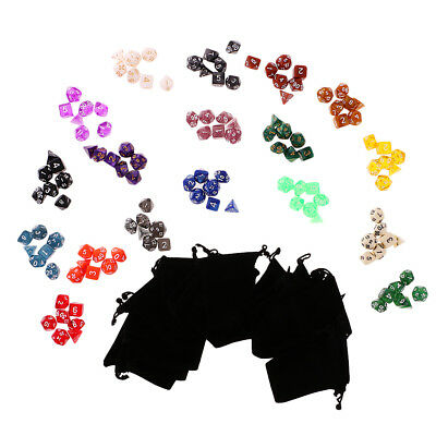 18 Packs TRPG Dungeons & Dragon D4-D20 Dices Kids Toy Game Accessory w/ Bag