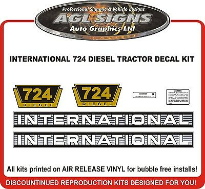 INTERNATIONAL 724 DIESEL TRACTOR DECAL SET, reprocduction