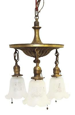 Down Light Gold Brass Chandelier with Glass Shades