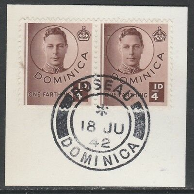 Dominica 5288 - 1940 KG6 1/4d x 2 on piece with MADAME JOSEPH FORGED POSTMARK