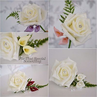 White or ivory rose flower and calla-lily buttonhole pearl loop spray fern leaf
