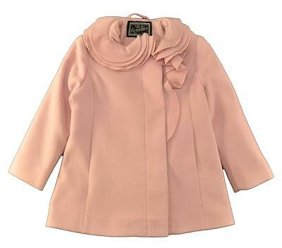 Rothschild Girls Pink Faux Wool Coat with Ruffle Trim Size 2T 3T 4T 5 6 6X