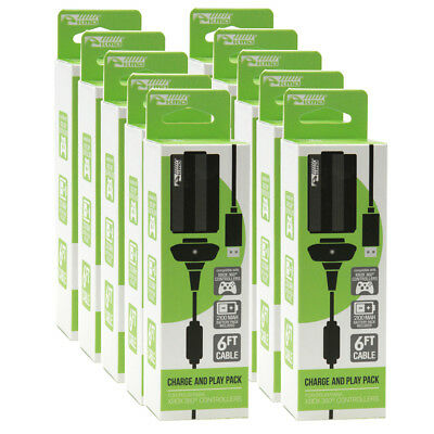 Wholesale Lot of 10 Xbox 360 BLACK Play and Charge Pak w/ Battery KMD New