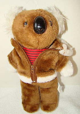 Vintage Korea 1983 Plush Koala Bear in Hoodie/Coat/Jacket 11.5""