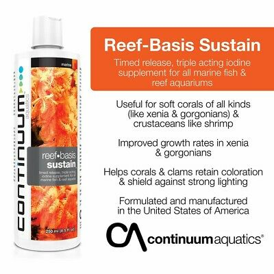 CONTINUUM REEF BASIS SUSTAIN (Timed release triple acting iodine) Reef Aquaria