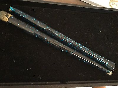 """Vintage Mid Century Acrylic Lucite Mid Night Blue Confetti Candles 11.5"""" Boxed"""