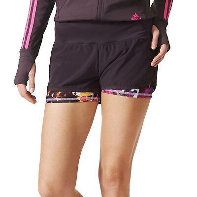 adidas Performance Womens Climalite Two-In-One Running Sports Shorts