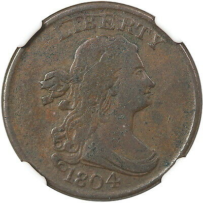 1804 Spiked Chin 1/2C NGC F12 Brown
