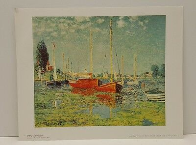 Monet Argenteuil, France Sailboats Vintage Lithograph Art Print