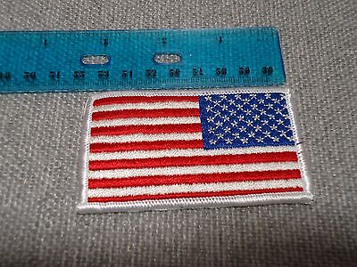 """AMERICAN FLAG PATCHES  REVERSE USA LEFT FACING 3.5/"""" wide 2 pcs"""