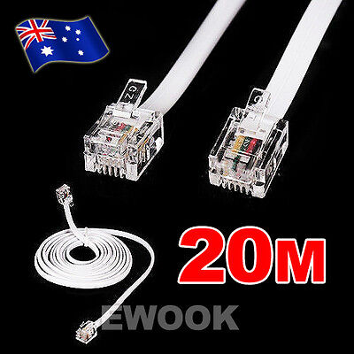 20M Telephone Phone Modem Fax Router Cable Lead Cord White RJ11 BT Sky