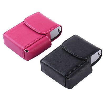 Leather Cigarette Packet Case - PU Leather Litchi Style with Lighter Holder