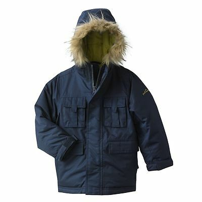 Boys Eddie Bauer Heavyweight Parka Jacket W/ Hood, Navy NEW NWT 6  $138 Coat