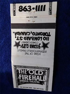 Old Firehall Second City Comedy Cabaret Dinner Theatre Matchbook Toronto Ontario