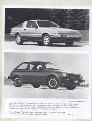 1984 Plymouth Conquest & Mitsubishi Colt GTS ORIGINAL Factory Photograph wy4125
