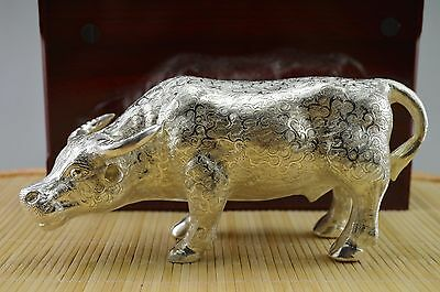 467 Gram Purity 999 Sterling Solid Silver Hand Made Cattle Big Statue