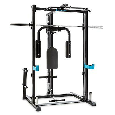 Capital Sports Half Rack Butterfly Vogatore Cavi Incrociati Manubrio Lungo Nero