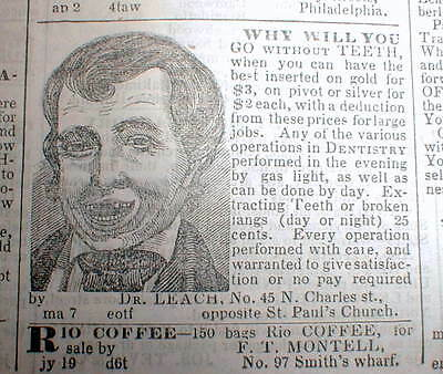 1844 Baltimore newspaper ILLUSTR DENTIST AD showing MAN with MISSING FRONT TEETH