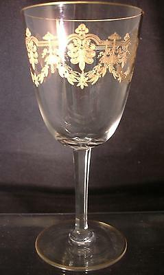 One Baccarat Etched Gilt Glass Water Goblets Beauharnais Pattern