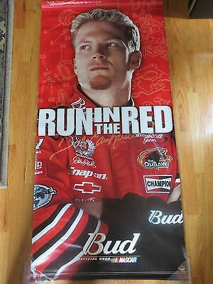 "2001 DALE EARNHARDT JR. Budweiser RUN IN THE RED 29"" x 60"" Nylon Banner CHAMPION"
