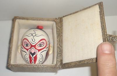 Small Oriental Asian Pottery Mask In Cloth Box Chinese Japanese