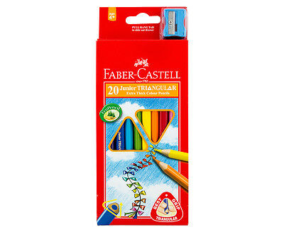 Faber-Castell Triangular Junior Colour Pencils 20-Pack w/ Sharpener - Multi