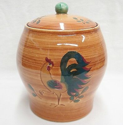 """Vintage Pennsbury Pottery Rooster Cookie Jar with Lid Brown and Green 6.75"""""""