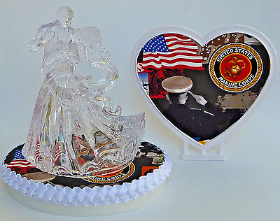 Wedding Cake Topper USMC U.S. Marine Corps Themed Marines Clear Dancing w/Garter