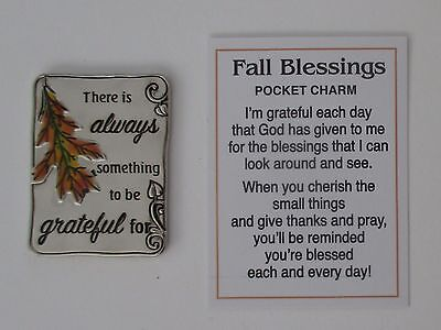 q There is always something to be grateful for FALL BLESSINGS pocket token charm