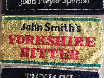 "John Smith's Yorkshire Bitter Beer Bar Towel 8""x 18""  RARE Yellow Green Design"