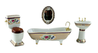 Dolls House Miniature Furniture Porcelain Victorian Royal Bathroom Suite