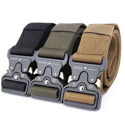 Cool Men Outdoor Hiking Sports Waistband Army Military Nylon Buckle Belt Fashion