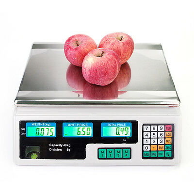 80LB Digital Weight Scale Price Computing Deli Food Produce Electronic Counter