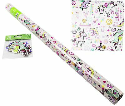 Unicorn Roll Wrapping Paper Gift Tags Set Happy Birthday Kids Rainbow Childrens