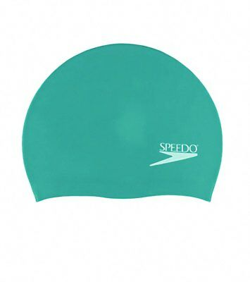 Speedo Adult Solid Silicone Swimming Dome Swim Cap, Dark Teal, One-Size Stretch