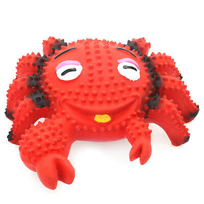 """WONPET 4.7"""" Squeaky Latex Dog Toy Laugh Face Red Crab Pet Puppy Interactive Play"""