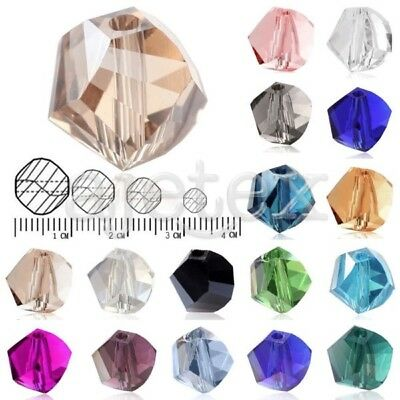 72/100pcs 4/6/8/10mm  Helix Loose Faceted Crystal Beads Jewelry Findings Lots