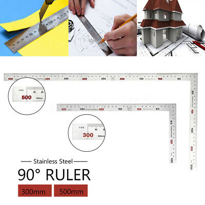 Durable 300 / 500mm Stainless Steel 90° Square Scale Measuring Ruler Right Angle