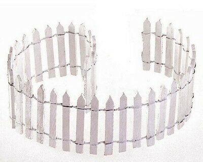 """Miniature Fairy Garden White Wood Picket Fence 18"""" by 2"""" Flexible"""