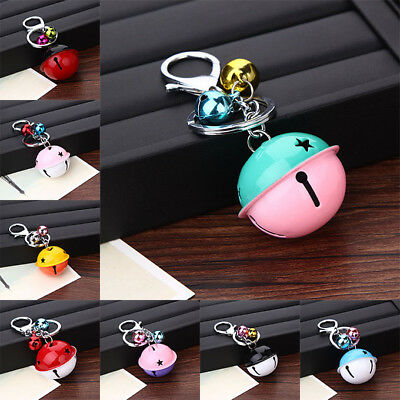 Fashion Colorful Jingle Bells Metal Keychain Ring Lovers Gift Car DIY Decoration