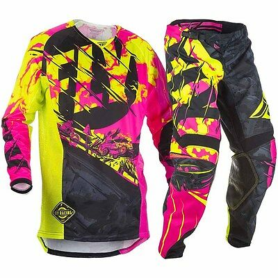 New Fly Racing Adult Mens Kinetic Outlaw Black Pink Hi-Vis Jersey + Pants Combo